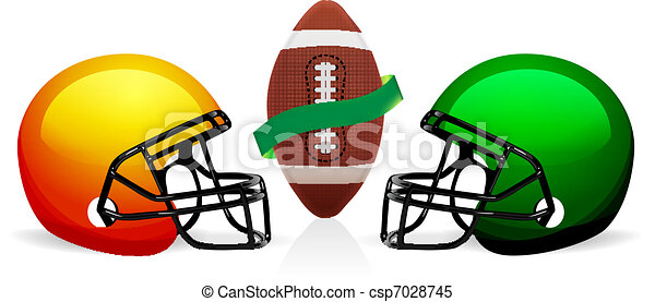 american football ball and helmet vector - csp7028745