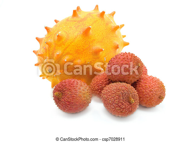 Litchi and Kiwano on the white. - csp7028911