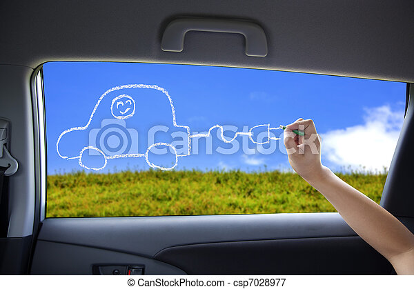 hand drawing Electric car concept on the car windows - csp7028977