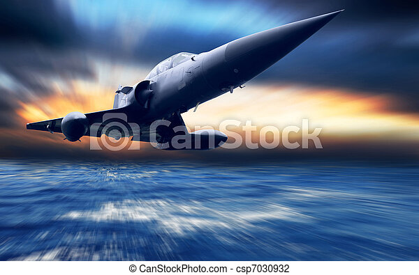Military airplane low over the sea - csp7030932
