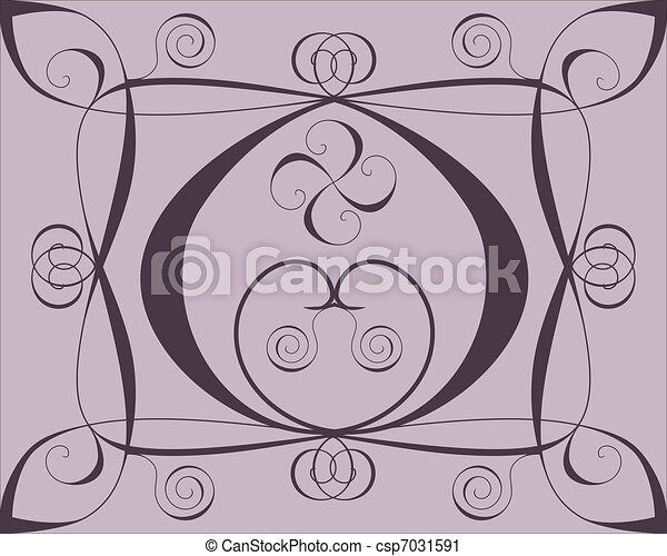 Design background with hearts and spirals on lilac - csp7031591