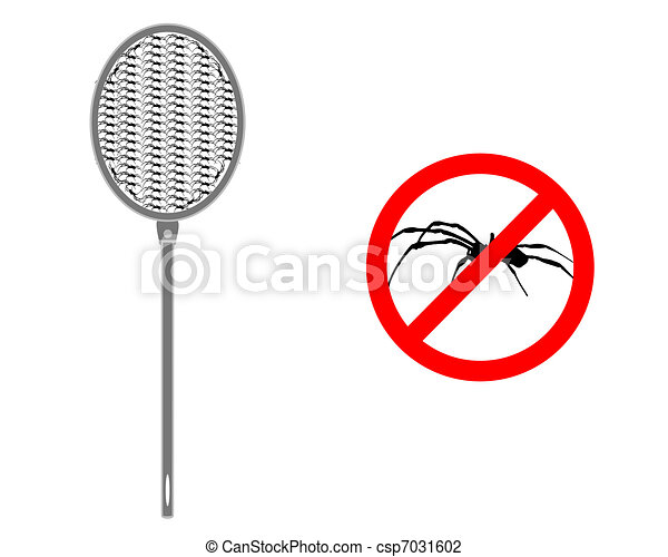 Spider swat with prohibition sign for spiders - csp7031602