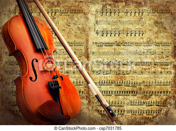 Retro musical  grunge violin background - csp7031785
