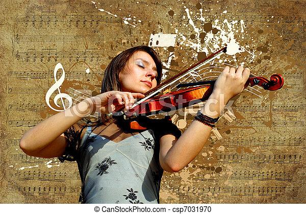 Retro musical  grunge violin background - csp7031970
