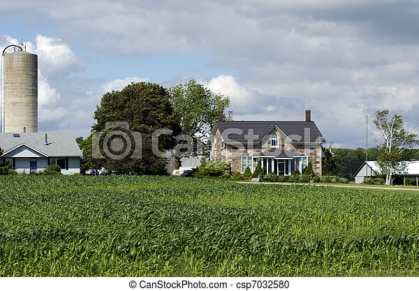 American farm house organic with corn field - csp7032580