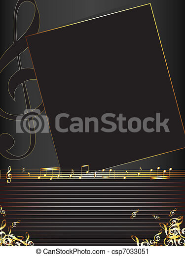 music background with golden notes - csp7033051