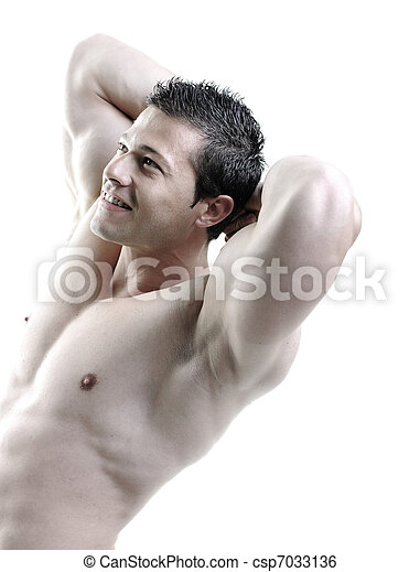 The Perfect male body - Awesome bodybuilder posing - csp7033136