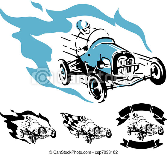 Vector vintage racing car - csp7033182