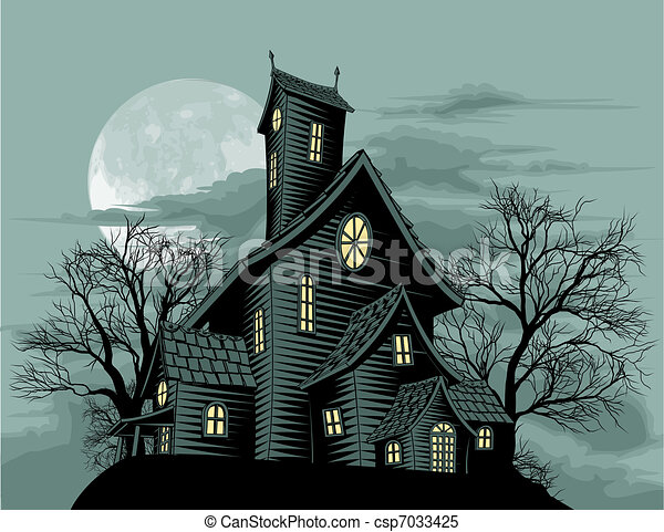 Creepy haunted ghost house scene illustration - csp7033425