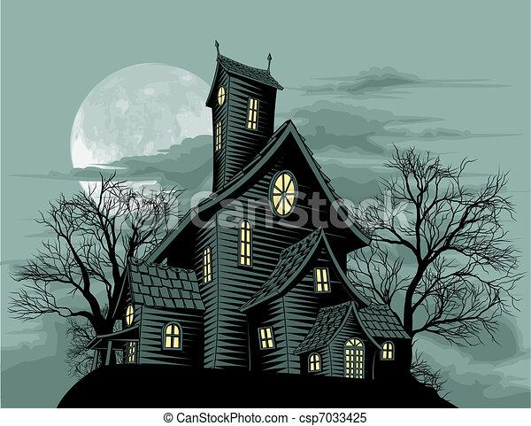 Creepy haunted ghost house scene illustration - csp7033425