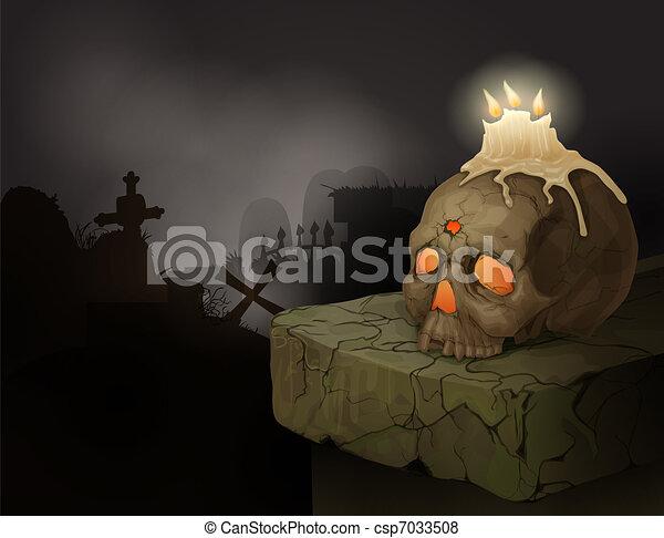 Human skull, candles and graveyard - csp7033508