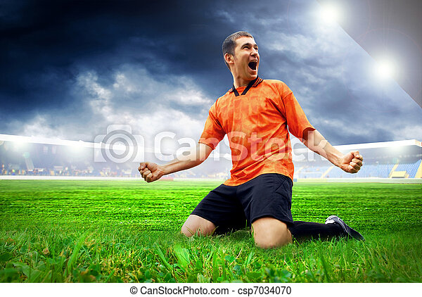 Happiness football player after goal on the field of stadium with blue sky - csp7034070
