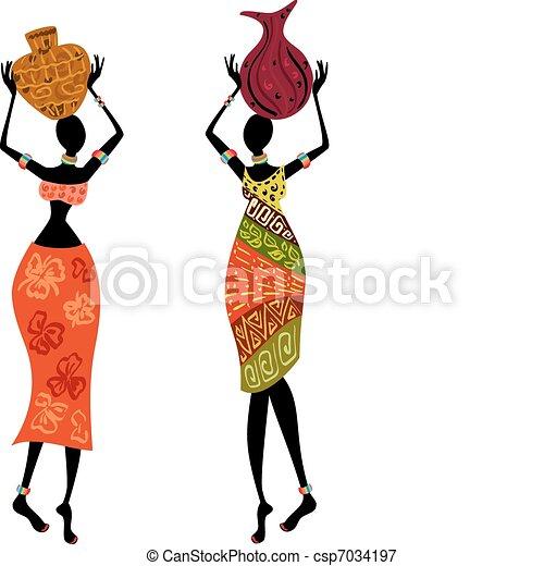 Ethnic woman with vase - csp7034197