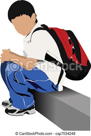 School boy is going to school. Bac - csp7034248