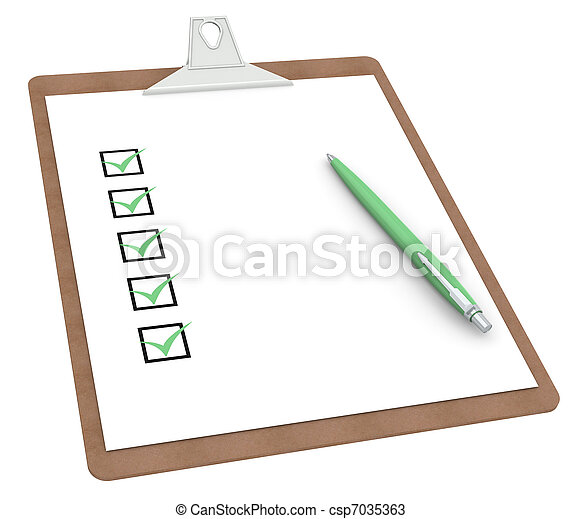 Clipboard with Checklist X 5 and Pen - csp7035363