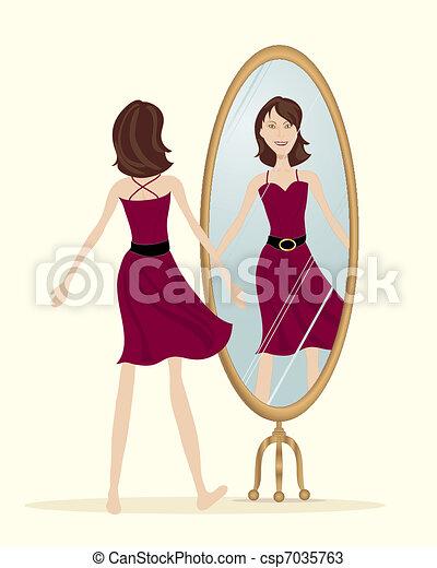 Vecteurs de reflet une illustration de a femme for Pics de chicks dans l miroir