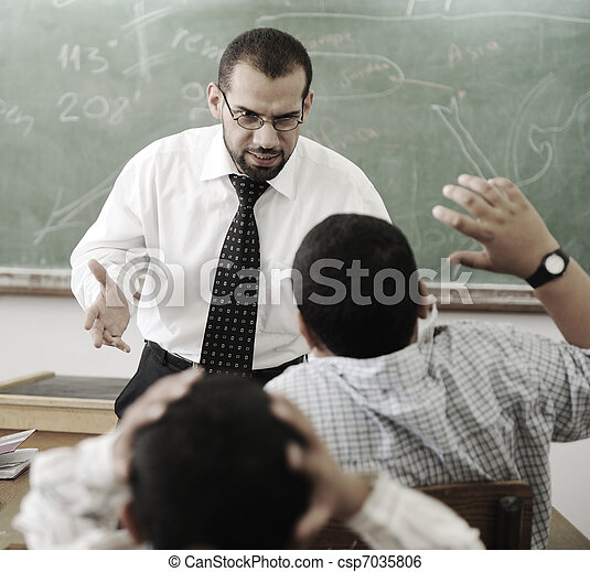 Education activities in classroom,   teacher yelling at pupil - csp7035806