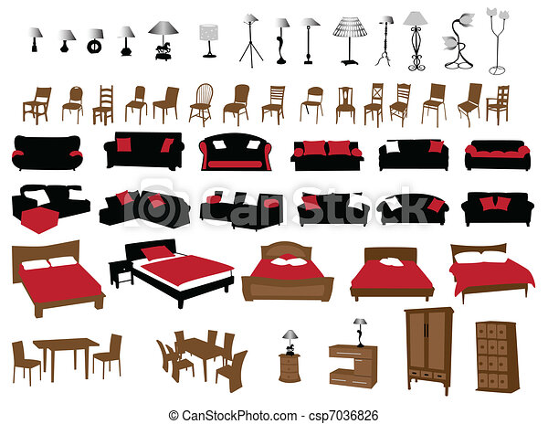 Modern Furniture Drawings clip art vector of furniture and lighting - modern furniture