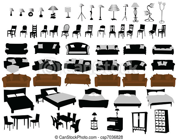 Modern Furniture Drawings vector of furniture and lighting - modern furniture design