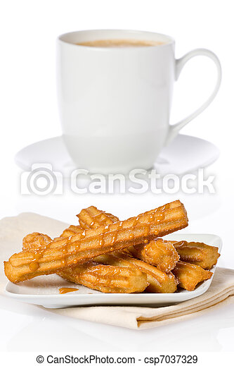quentes, churros, chocolate - csp7037329