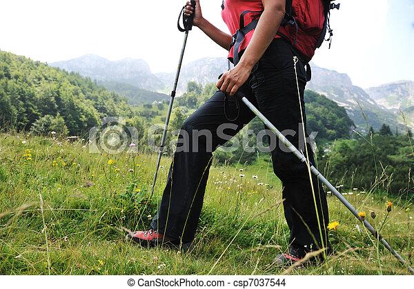 Walking up to mountain hills, sport adventures - csp7037544