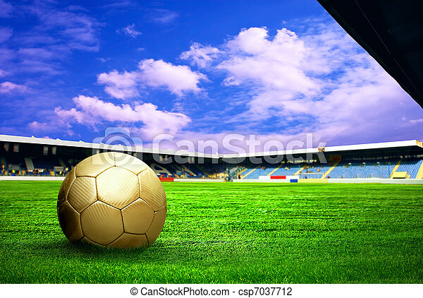 Happiness football player after goal on the field of stadium with blue sky - csp7037712