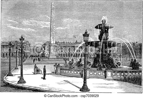Place de la Concorde in Paris France vintage engraving - csp7039029