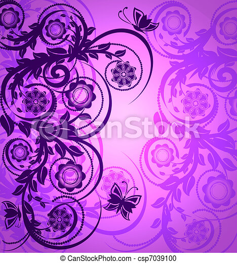 vector illustration of a purple flo - csp7039100