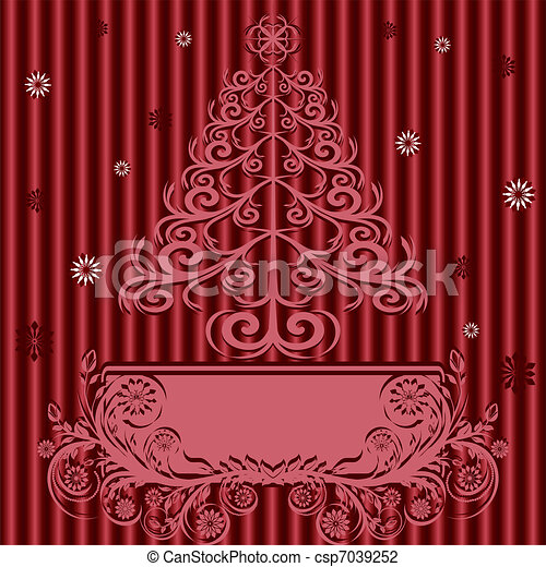 vector illustration of a Christmas tree with ornament on silk background. - csp7039252