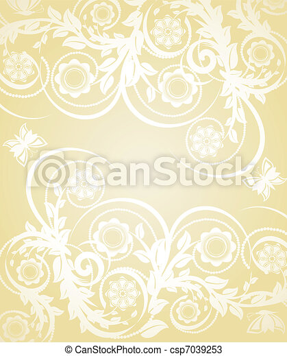 Vector illustration of abstract floral background with butterflies - csp7039253