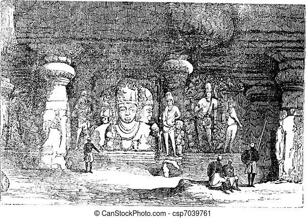 Elephanta Cave in Maharashtra, India, vintage engraving - csp7039761