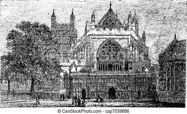 Exeter Cathedral in England, United Kingdom, vintage engraving - csp7039886
