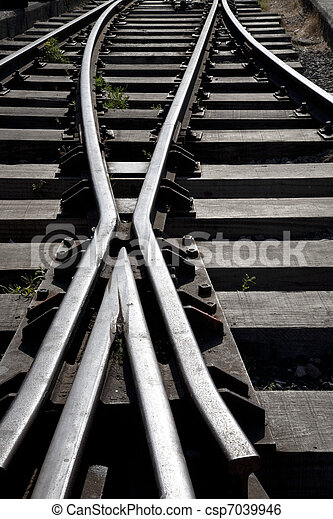 Close up of a Railroad Track Junction - csp7039946