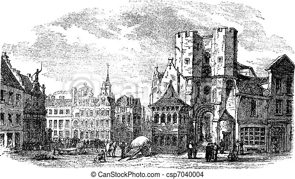The holy place of Saint Pharailde and the old castle of Flanders in Ghent, Belgium vintage engraving - csp7040004