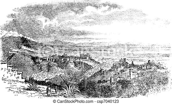 View of village at Granada, Andalusia, Spain vintage engraving - csp7040123
