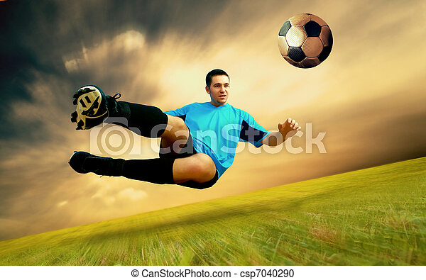 Happiness football player on field of Olympic stadium on sunrise sky - csp7040290