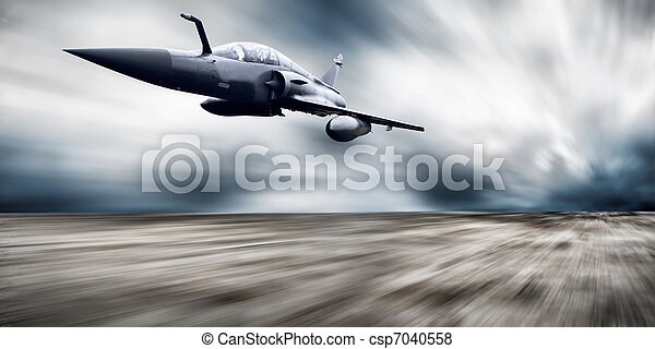 Military airplan on the speed - csp7040558