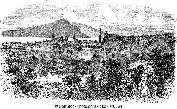 Inverness in Scotland vintage engraving - csp7040564