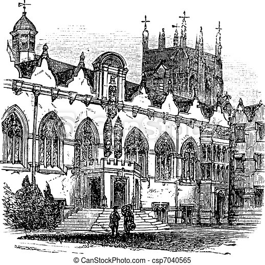 University of Oxford or Oxford University in Oxford England vintage engraving - csp7040565