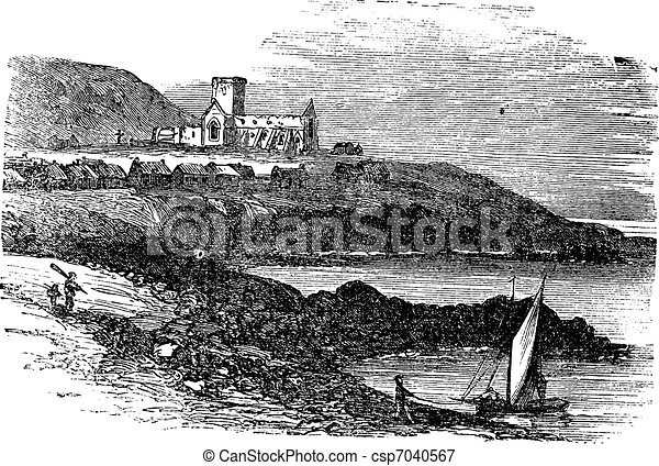 The ruins of St Mary's Abbey in Iona Scotland vintage engraving - csp7040567