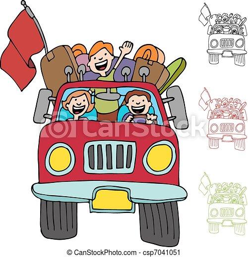 Road Trip Pickup Truck Family - csp7041051