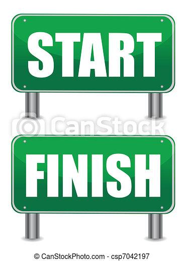 start finish illustration banners - csp7042197