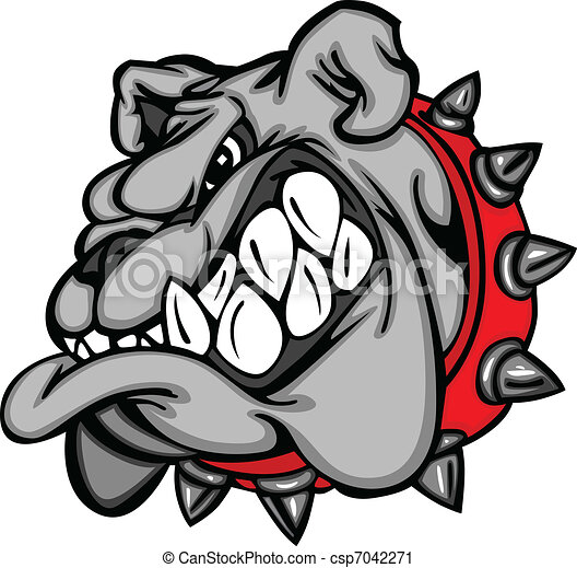 Bulldog Mascot Cartoon Face - csp7042271