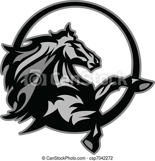 Mustang Stallion Graphic Mascot Ima - csp7042272