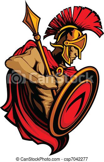 Spartan Trojan Mascot with Spear an - csp7042277