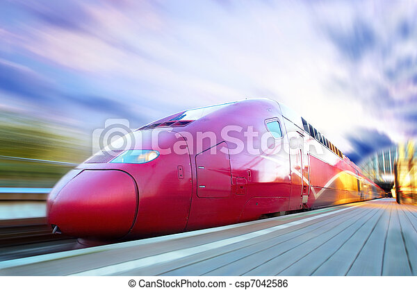 ultra-rapide, mouvement, train, extérieur, barbouillage - csp7042586