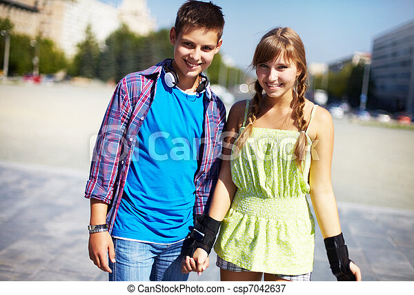 Youthful roller skaters - csp7042637