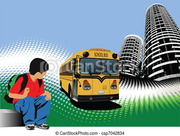 School boy is waiting for school b - csp7042834