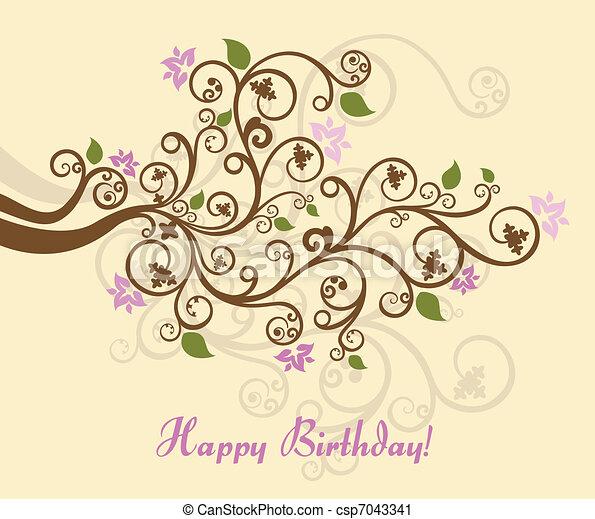 Feminine floral happy birthday card - csp7043341