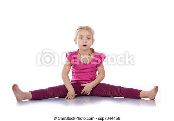 Studio Portrait Of Girl Gymnasts Sitting Stock Image